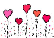 Doodle sketch heart and lettering for Valentines Day. Vector illustration royalty free stock photography