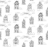 Doodle sketch House in a traditional european style seamless pattern Royalty Free Stock Photo
