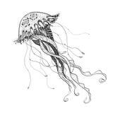 Doodle sketch medusa jellyfish black line Royalty Free Stock Photography