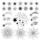 Doodle sketch night star set stock illustration