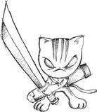 Doodle Sketch Ninja Cat Stock Image