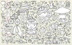 Doodle Sketch Notebook Elements Set Stock Images