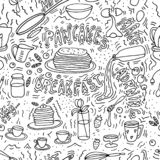 Doodle sketch . Pancakes maker . Morning meal Vector objects royalty free illustration