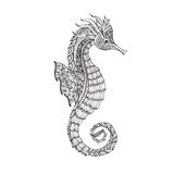 Doodle sketch seahorse black line Stock Photography