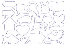 Doodle sketch speech bubbles. Speech bubbles in the form of various objects Royalty Free Stock Images