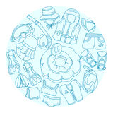 Doodle sketch swimming goods for kids. Vector Illustration in circle. Set. Royalty Free Stock Images