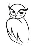 Doodle sketch of wise owl Royalty Free Stock Photo