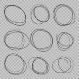 Doodle sketched circles. stock illustration