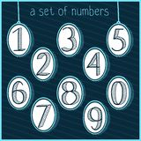 Doodle sketchy. Hand drawing. Set of painted numbers. Hand drawing. Numbers. Background. Royalty Free Stock Photo