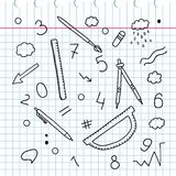 Doodle sketchy. Hand drawing. Set of words and labels. Chemical elements. School appliances. Ruler. Compasses. Pencil. The workboo Royalty Free Stock Photo