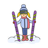 Doodle skier Stock Photo