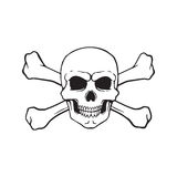 Doodle of skull Jolly Roger with crossbones behind Royalty Free Stock Photo