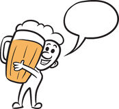 Doodle small person - holding a mug of beer. Vector illustration of cartoon doodle small person - holding a mug of beer. Easy-edit layered vector EPS10 file Royalty Free Stock Images