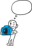 Doodle small person - holding photo camera. Vector illustration of cartoon doodle small person - holding photo camera. Easy-edit layered vector EPS10 file Stock Photos