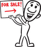 Doodle small person - holding sign for sale. Vector illustration of cartoon doodle small person - holding sign for sale. Easy-edit layered vector EPS10 file Royalty Free Stock Photo