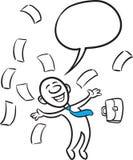 Doodle small person - joyful jumping Royalty Free Stock Photos