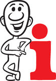 Doodle small person - pointing at info sign Stock Photo