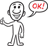 Doodle small person - showing thumbs up. Vector illustration of cartoon doodle small person - showing thumbs up. Easy-edit layered vector EPS10 file scalable to Royalty Free Stock Photography