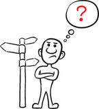 Doodle small person - thinking which way to go Royalty Free Stock Photo