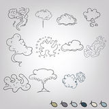 Doodle Smoke Explosions Set Royalty Free Stock Images