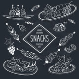 Doodle snacks. Buffet snacks doodle set. Hand drawn food icons on chalkboard. Doodle food and drinks collection. Cheese, fruits, canapes, tartalets Stock Photos