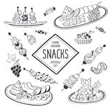 Doodle snacks collection Stock Photos