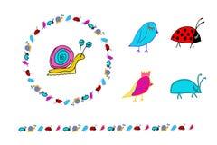 Doodle snail, birs, bug, ladybug. Wreath and horizontal border. Isolated on white royalty free illustration