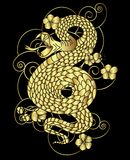 Snake with flower and Japanese cloud tattoo design vector Royalty Free Stock Photo