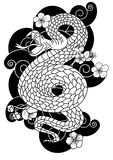 Snake with flower and Japanese cloud tattoo design vector Stock Photography