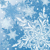 Doodle snowflake christmas background vector illustration