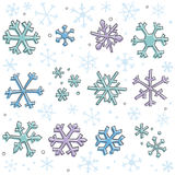 Doodle Snowflake Elements. Cute hand-drawn snowflakes. Elements are on separate layers in  files. Colors can be easily changed in  file Stock Photos