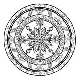 Doodle snowflake on ethnic christmas mandala. Royalty Free Stock Photo
