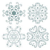 Doodle  snowflakes. Funny doodle  snowflakes with sheep and goats Stock Photo