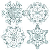 Doodle  snowflakes. Funny doodle  snowflakes with sheep and goats Royalty Free Stock Photos