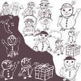 Doodle snowman collection Stock Photo