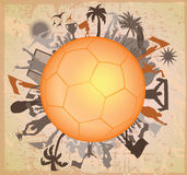 Doodle Soccer ball with Soccer players Royalty Free Stock Photos