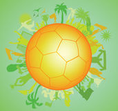 Doodle Soccer ball with Soccer players Royalty Free Stock Image