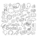 Doodle Social Icons Royalty Free Stock Photography