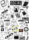 Doodle social media Stock Image