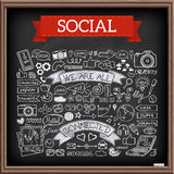 Doodle social media icons set with chalkboard effect Royalty Free Stock Photo