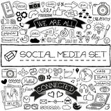 Doodle social media icons set. Stock Photo