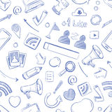 Doodle social media, movie, music, news, video, online marketing, sms vector seamless backdrop. Media social pattern with sketch elements pencil and megaphone Stock Photos