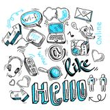 Doodle social media signs. Doodle social media sign for blogging networking and marketing communications isolated vector illustration Stock Photography