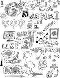 Doodle social media Royalty Free Stock Photography