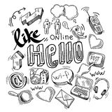 Doodle social media symbols Royalty Free Stock Images
