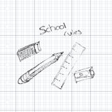 Doodle of some school equipment Royalty Free Stock Photos