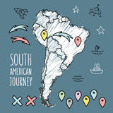 Doodle South America map on navy blue chalkboard Stock Image