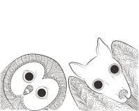 Doodle sowa i nietoperz głowa Nocy zwierzęcia i ptaka Zen gmatwanina Zdjęcie Royalty Free
