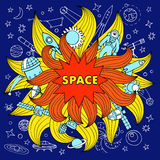 Doodle space color elements Royalty Free Stock Images
