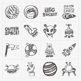 Doodle space element icon set Royalty Free Stock Images